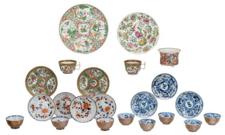 A various of Chinese export porcelain, including a famille rose mandarin jardiniere and Batavia brown cups and saucers, 18thC; added Canton famille rose decorated dishes and cups, 19thC, H 4 - 7,5 - ø 7,5 - 24 cm