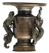 A Japanese bronze incense burner with silver inlay, the handles dragon shaped, Meiji and period, H 38,5 - ø 36,5 cm