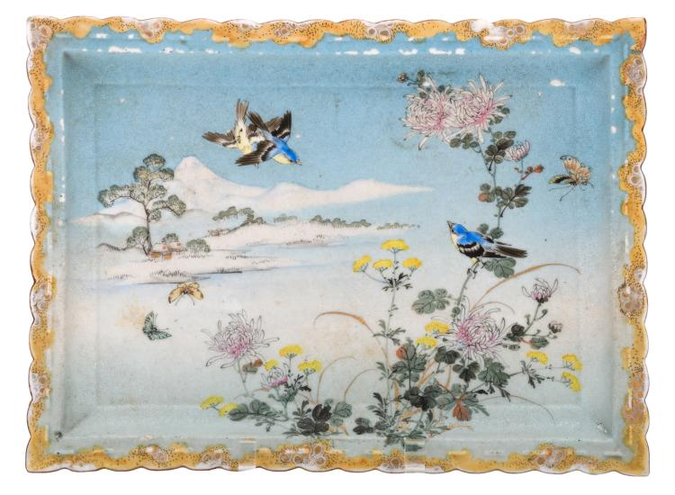 A Japanese rectangular polychrome and gilt decorated plate with birds, butterflies and flower branches in a landscape with mount Fuji, marked, H 3,5 - W 25,5 - L 34 cm