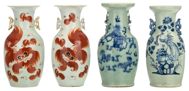 A pair of Chinese iron red decorated vases with Fu lions and a calligraphic text; added two Chinese celadon ground blue and white decorated vases with a phoenix and Fu lions, 19thC, H 43 - 44,5 cm