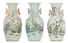 Three Chinese famille rose decorated vases with gallant garden scenes and calligraphic texts, H 42,5 cm