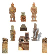 A various Chinese stone sculptures, including seal marks and temple guards, H 6,5 - 18 cm