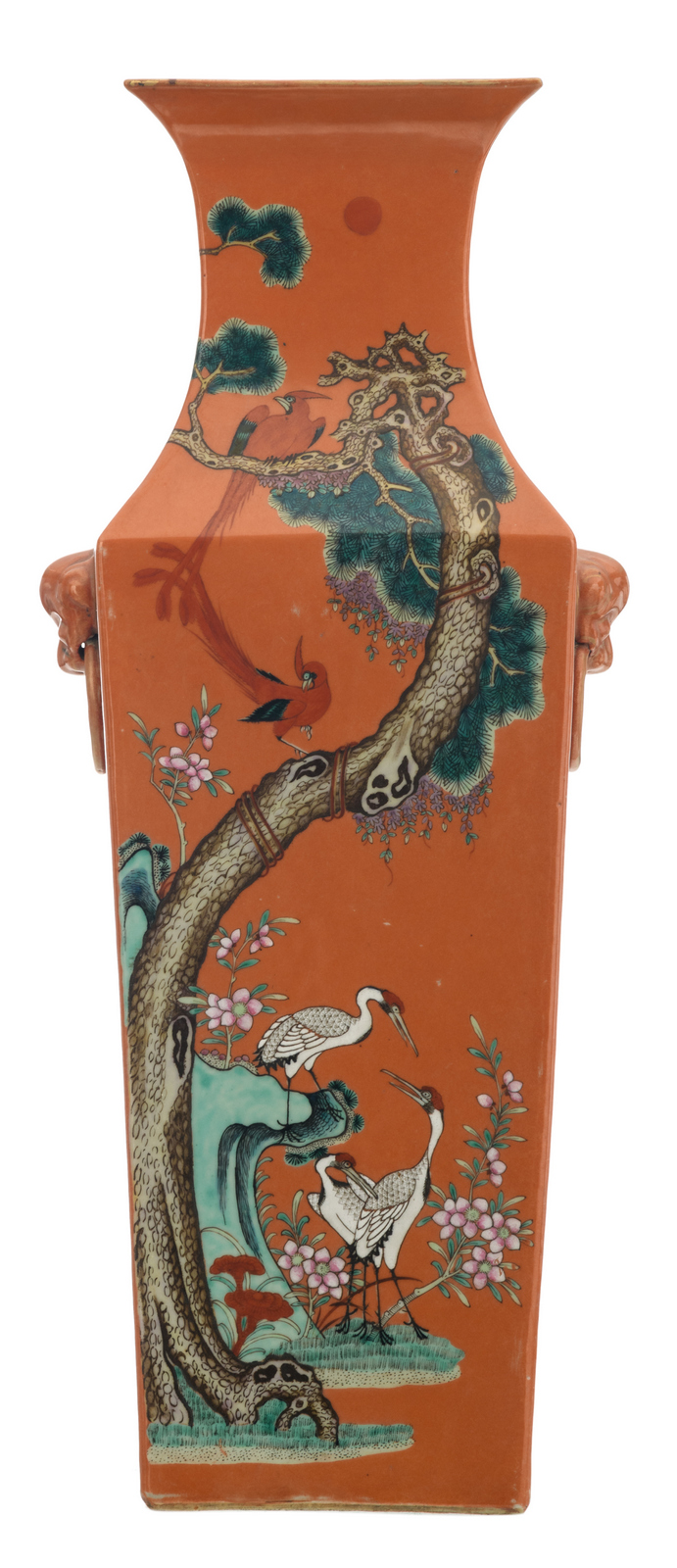 A fine Chinese orange ground famille rose quadrangular vase decorated with birds, rocks and flower branches, about 1900, H 54,5 cm
