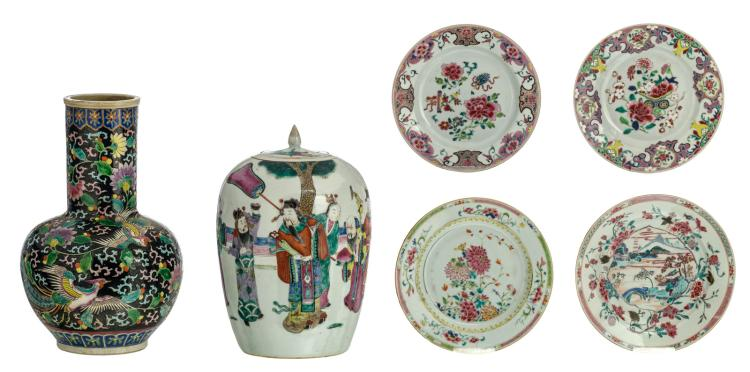 A Chinese famille rose decorated ginger pot and cover with Immortals in a garden, 19thC; added four famille rose floral decorated export porcelain dishes; extra added a Chinese famille noire decorated vase with birds and flower branches, H 32 - 36 - ø 22 - 23 cm