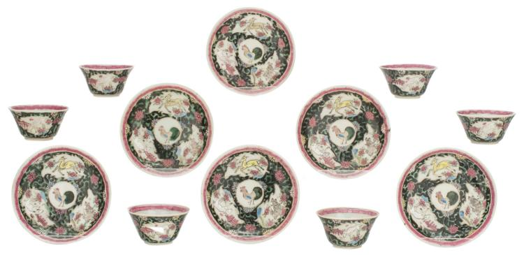 A set of six Chinese famille noire cups and saucers, the roundels decorated with deers and birds, 18thC, H 2 - 4 - ø 7 - 11 cm
