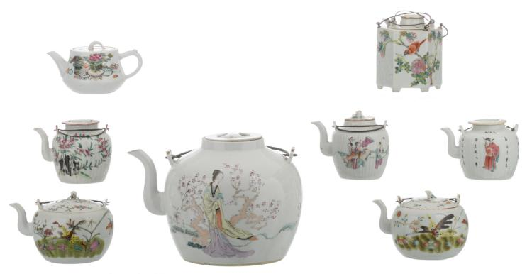 A various of eight Chinese famille rose teapots and covers, floral decorated with figures, animals and auspicious symbols, some with calligraphic texts, five marked, H 8,5 - 19,5 cm