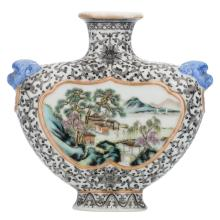 A Chinese encre de Chine and polychrome decorated flask, the roundels with figures and pavillions in a river landscape, with a Qianlong mark, H 15,5 cm