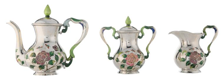 A Chinese three piece silver enameled coffee set , decorated with flower branches, insects and a calligraphic text, marked, H 12 - 17,5 cm - Weight about 757g
