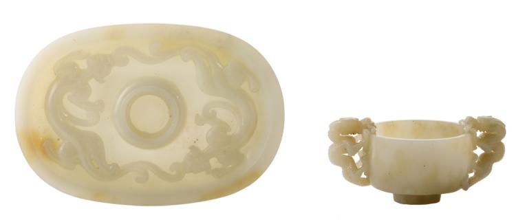 A fine Chinese archaic carved jade cup and saucer, the handles and the plate dragon relief decorated, H 1,5 - 5 - W 11 - 16 - ø 7 cm