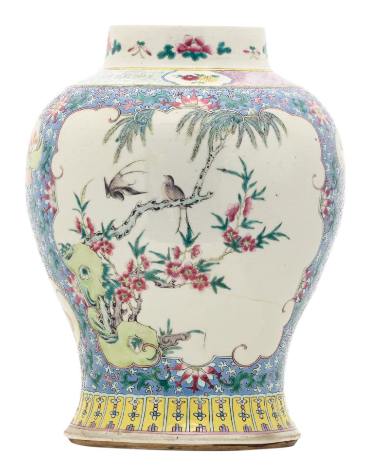 A Chinese famille rose and polychrome floral decorated baluster shaped vase, the roundels with birds, flower branches and a landscape, 19thC, mounted as a lamp, H 35,5 (without mount) - 81 cm (with mount)