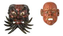 Two Japanese polychrome lacquered Nô theatre masks, H 20 - 25 cm