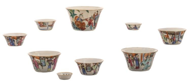 A set of Chinese famille rose decorated bowls with various animated scenes, Daoguang marked, H 1,5 - 6,5 - ø 4 - 10,5 cm