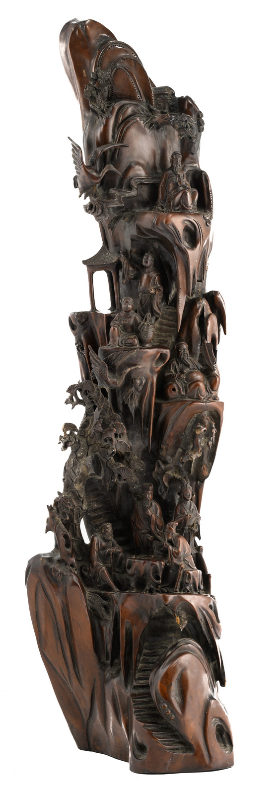 A Chinese wooden sculpture depicting the Eight Immortals in their habitat, about 1900, H 105 - W 30 - D 30 cm
