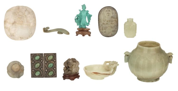 A various Chinese stone carvings, including jade, 19th and 20thC; added a Chinese silver belt buckle with semi-precious stones inlay, H 1,5 - 9 cm