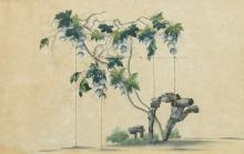 A Chinese watercolour depicting two rats in a grape vine, framed, 32 x 50 cm