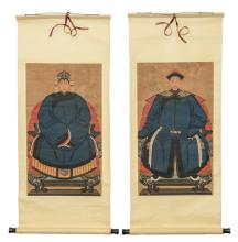 A pair of Chinese ancestors portraits, watercolour on paper, about 1900, 39,5 x 69,5 (without mount) - 57 x 114 cm (with mount)