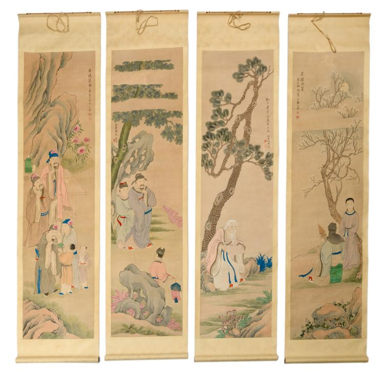 A series of four Chinese scrolls, watercolour on paper, depicting various figures in a landscape, signed Gai Qi, 46 x 172,5 (without mount) - 53 x 208 cm (with mount)