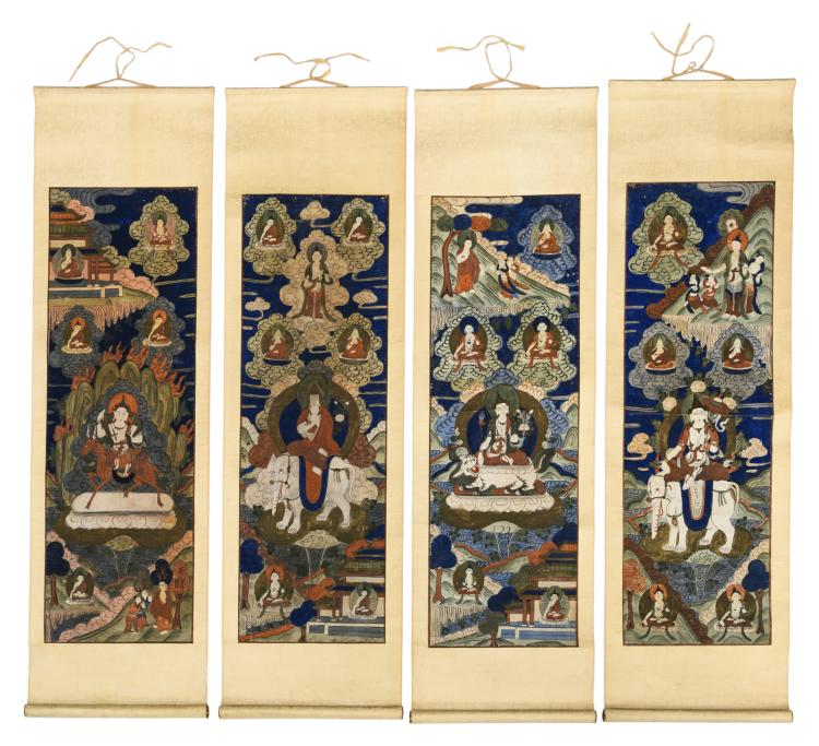 A series of four Sino-Tibetan scrolls, gouache on textile, depicting Buddhistic deities, about 1900, 29 x 89 (without mount) - 35,5 x 118,5 cm (with mount)