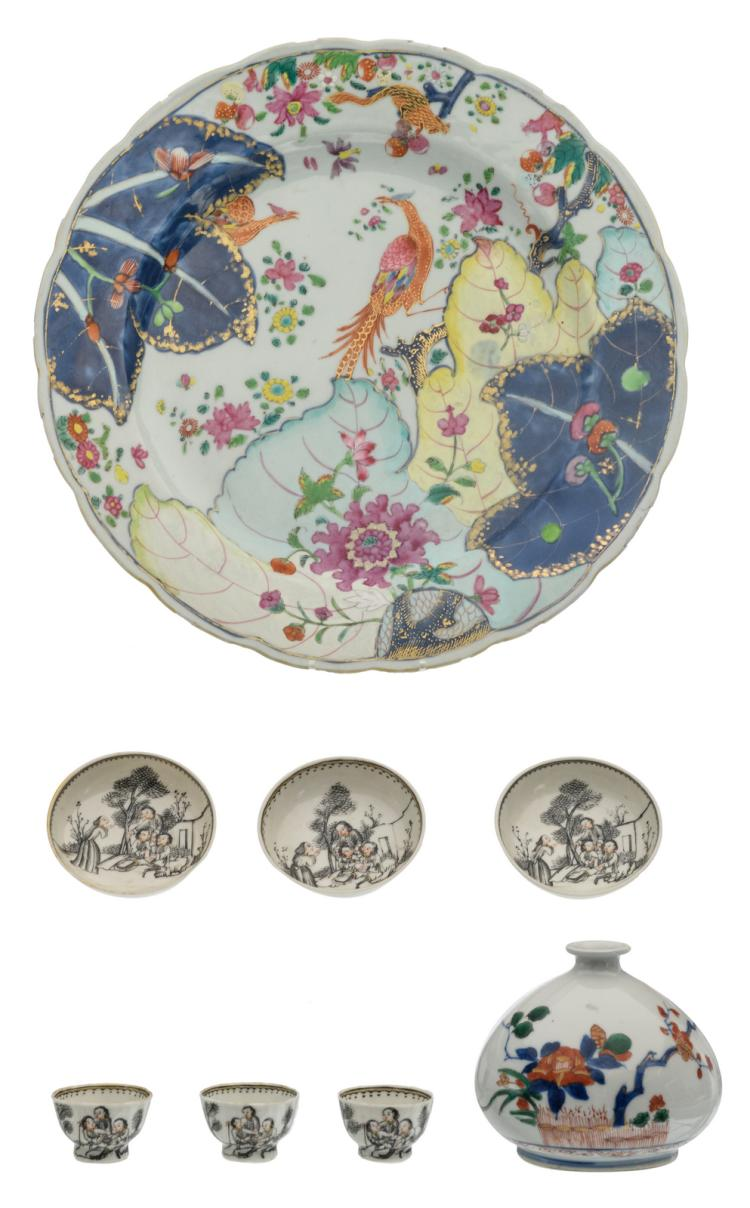 A Chinese famille rose floral decorated plate with birds and rats; added a Chinese polychrome decorated water dropper; extra added three ink and gilt decorated cups and saucers, 18thC, H 2 - 8,5 - ø 4 - 28 cm