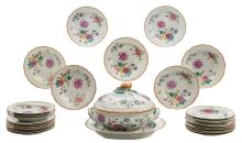 A part of a Chinese export porcelain dinner service, famille rose, floral decorated, second half of the 18thC, consisting of a tureen on a matching plate and 25 dishes, H 23,5 - ø 23 cm