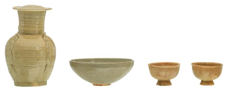 A Chinese vase and cover, a bowl and two cups, glazed stoneware, Song type, H 19 - ø 7,5 - 15 cm