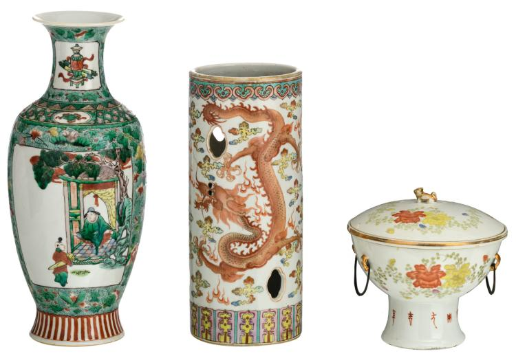 A Chinese famille rose and polychrome decorated bowl and cover and a hat stand with dragons and flower branches, the stand marked; added a Chinese famille verte floral decorated baluster vase, the roundels with animated scenes and antiquities, H 17 - 35 - ø 17 cm
