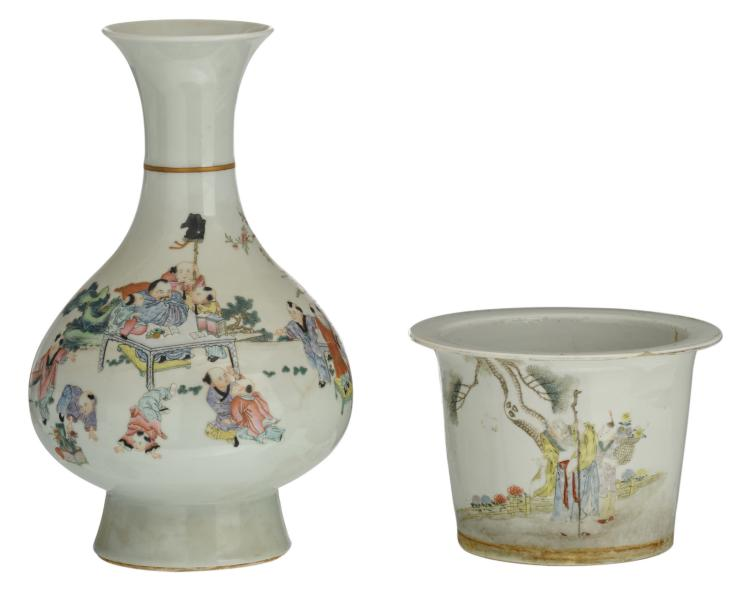 A Chinese famille rose overall decorated pear shaped vase with a teacher and scholars in a garden landscape; added a ditto polychrome decorated jardiniere with an animated scene and a calligraphic text, H 16,5 - 40,5 cm