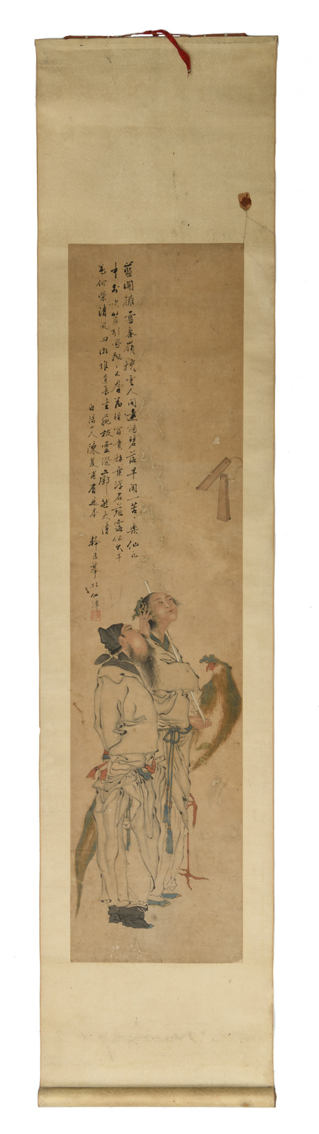 A scroll depicting an allegoric scene referring to the Chinese pandemonium, watercolour on paper, 19thC, 43 x 190 (with mount ) - 32 x 132 cm (without mount)
