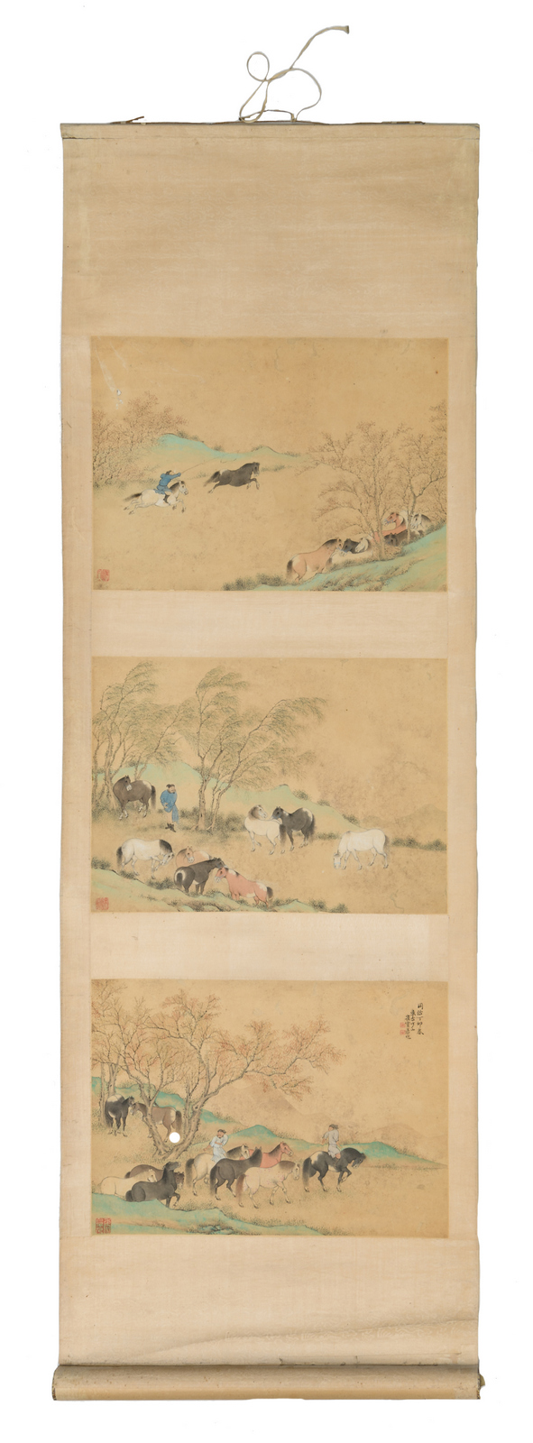 A Chinese scroll, watercolour on paper,depicting three horse taming scenes, about 1900, 38 x 100 cm (without mount) - 46,5 x 142 (with mount)