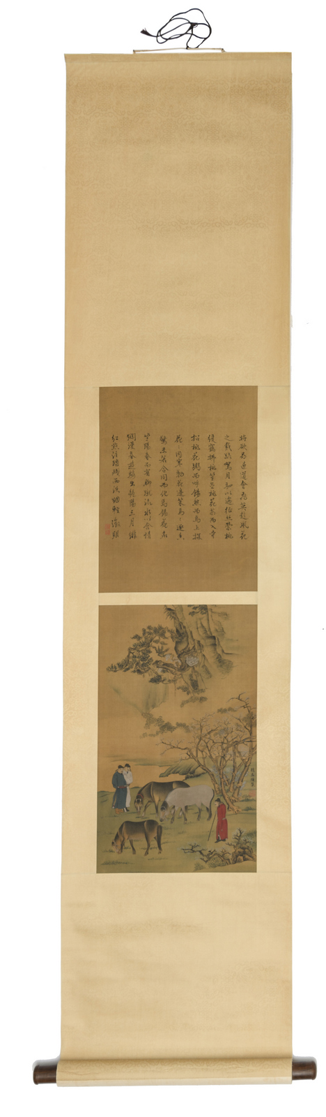 A Chinese scroll, watercolour on silk, depicting horses, figures in a landscape and calligraphic texts, with a matching box, 29,5 x 90 (without mount) - 42,5 x 177 cm (with mount)