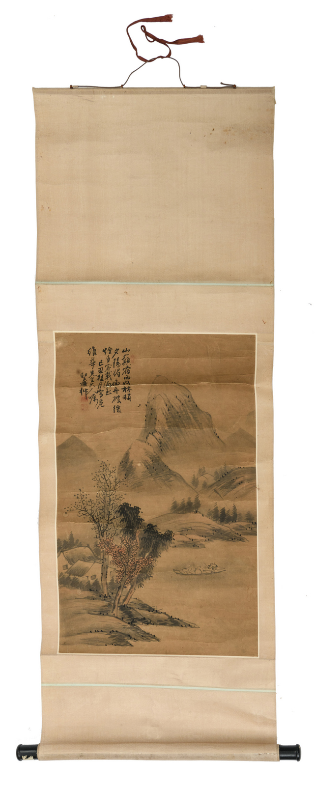 A Chinese scroll, watercolour on paper, depicting figures in a mountainous river landscape, with a calligraphic text, signed, 40,5 x 66,5 (without mount) -57 x 136,5 cm (with mount)