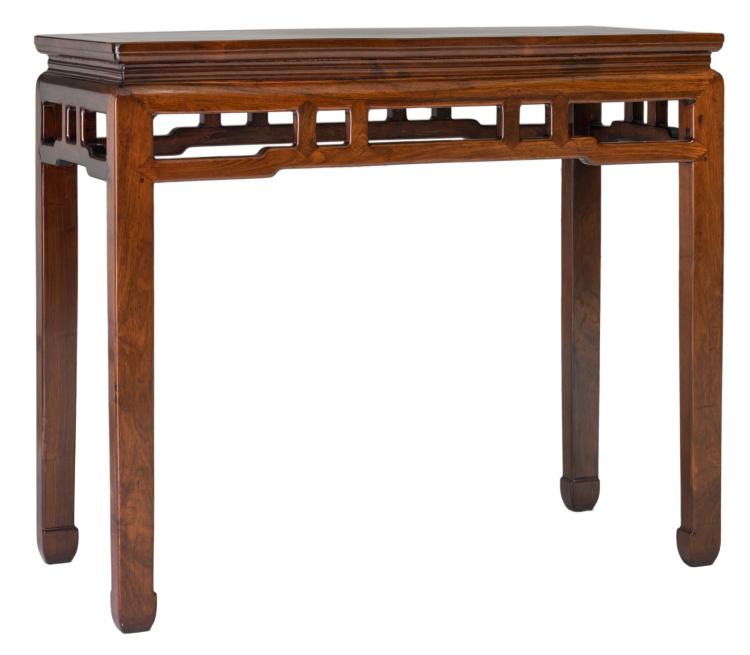 A Chinese rectangular hardwood side table, H 82,5 - W 97,5 - D 45,5 cm