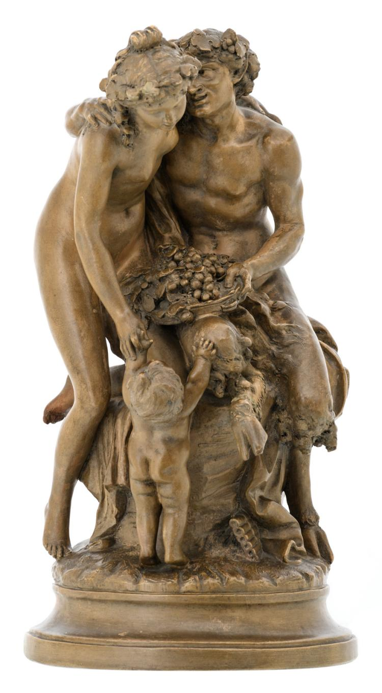 Clodion (after), a patinated terracotta group depicting a bacchante, a faun and a putto, H 50 - W 26,5 cm