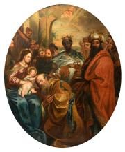 Unsigned, the Adoration of the Magi, oil on canvas, 17thC, the Southern Netherlands, 107 x 133 cm