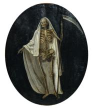 Unsigned, a double-sided painting depicting the Grim Reaper and the eternal hellfire, oil on canvas, 18thC,52,5 x 64,5 cm