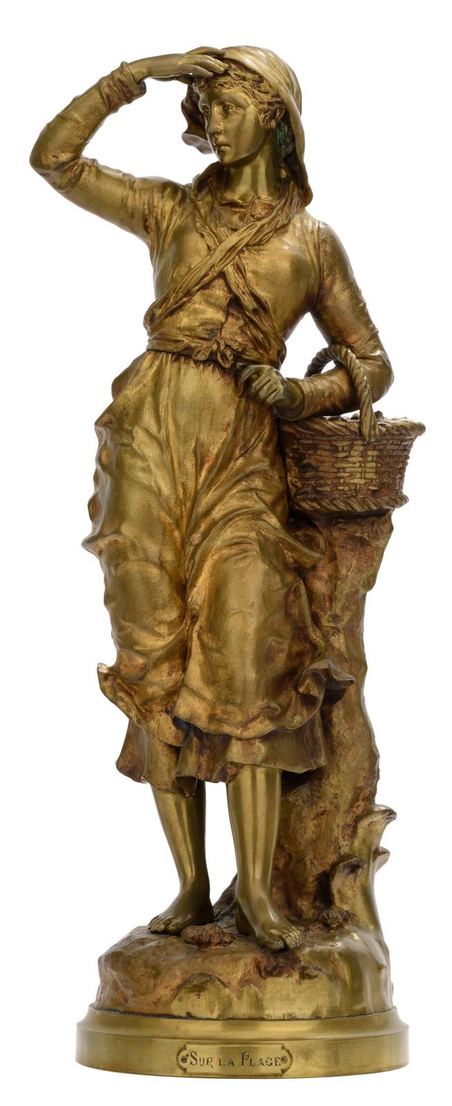 Anfrie C., 'Sur la plage', patinated bronze, H 66,5 cm