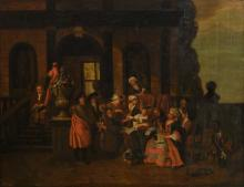 Unsigned, the musical interlude, oil on canvas, early 18thC (1720?), 84 x 108,5 cm