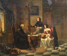 Cornet A., 'Chez l'usurier', oil on panel, dated 1852, 55,5 x 63,5 cm