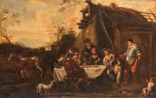 Unsigned, a jolly company in an Italianate landscape, oil on canvas, 62,5 x 98 cm