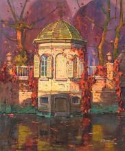 Reckelbus L., 'Le pavillon sur l'eau' (the tea pavilion of 'Huis Empire' - Groenerei Bruges), gouache, 56,5 x 68,5 cm