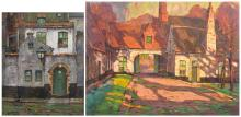 Reckelbus L., two views on the Bruges beguinage, gouache, 44 x 54 - 57 x 76 cm