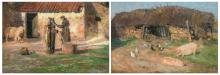 De Sloovere G., two views on a farmyard, oil on panel, 33,5 x 48,5 cm