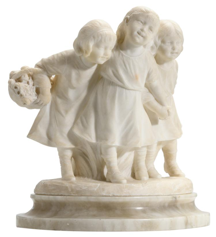 Calendi, a jolly company, Carrara marble on an alabaster base, H 33 cm