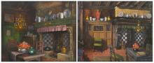 Reckelbus L., two views on the house interior of the artist - Westmeers Bruges, gouache, 43 x 53 cm