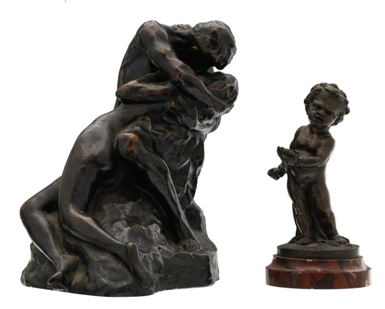 De Vreese C., the kiss, patinated bronze; added a putto, patinated bronze on a rouge Napoleon marble base, H 18,5 - 24 cm