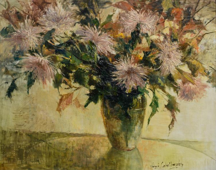 Cokelberghs V., a still life with flowers, oil on canvas, 78,5 x 97,5 cm