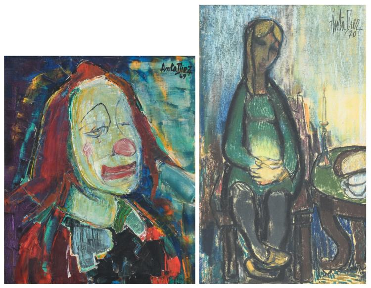 Diez A., 'Clown' and a pregnancy, oil on canvas and oil on board, one dated (19)70,50 x 60 - 43 x 72,5 cm