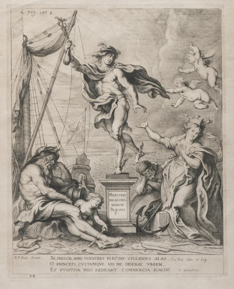A 17thC engraving after Rubens depicting an allegorical representation of Antwerp, the trade and the shipping, 27,2 x 33,6 cm