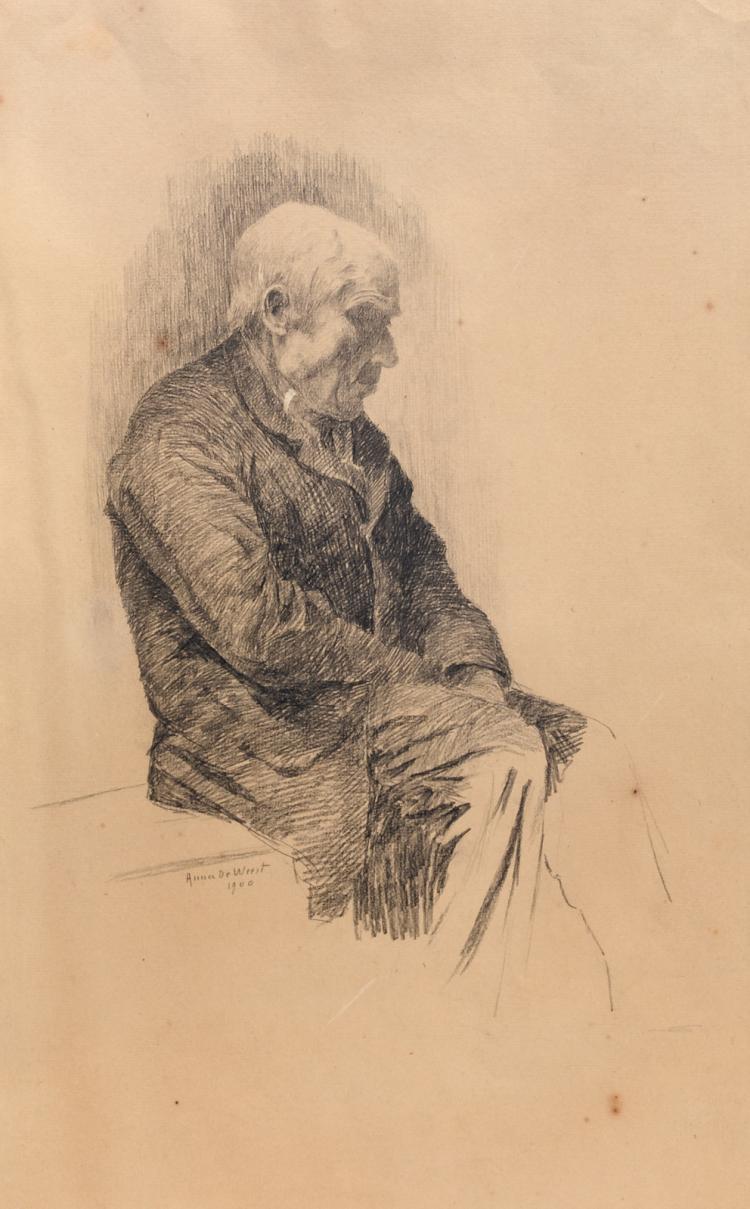 De Weert A., a portrait of an old man, pencil drawing, dated 1900, 27 x 42,5 cm