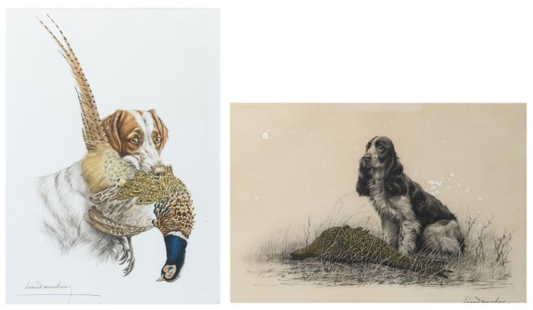 Danchin L., two hunting scenes, color lithographs, no. 216/500 and no. 303/500,42 x 62 and 42,5 x 59 cm